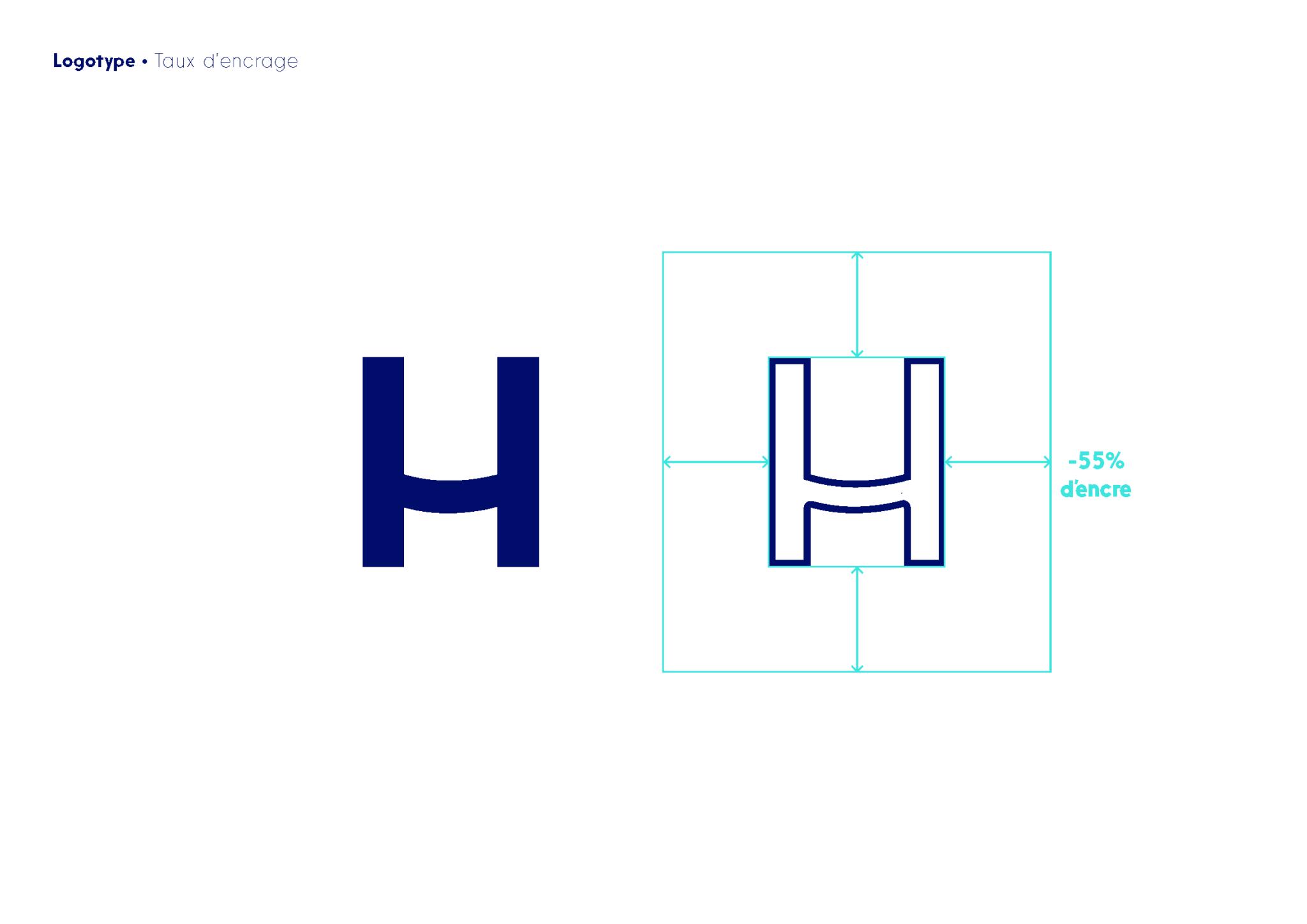 H du logo décliné en bordure uniquement (-55% d'encre)